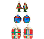 As Is 6-piece Handpainted Plaid Ornaments by Valerie - H207250