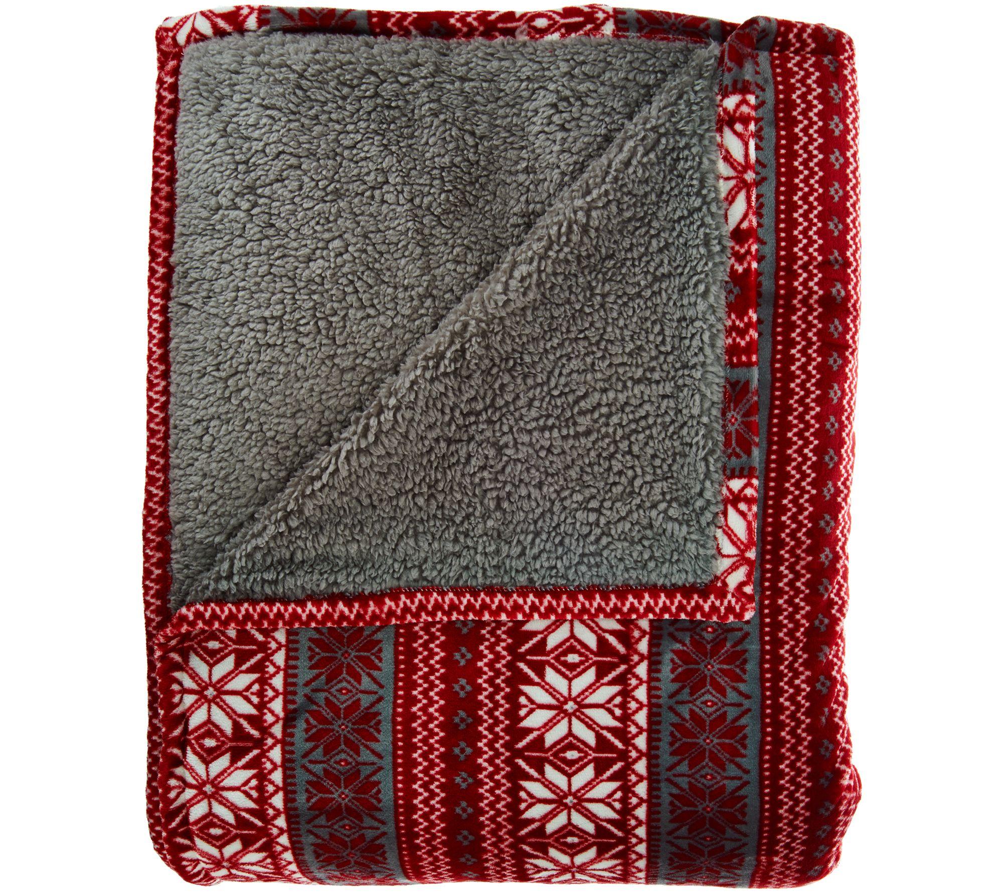 Berkshire Blanket King Fair Isle Reverse To Sherpa Blanket