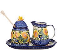 Lidias Polish Pottery Hand Painted Honey & Creamer Set - H211350