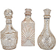 As Is Kringle Express Set of 3 Lit Textured Mercury Glass Bottles - H213950