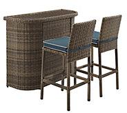 Crosley Bradenton 3-Piece Outdoor Wicker Bar Set - H289550