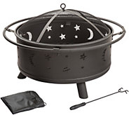Pure Garden 30 Round Star and Moon Fire Pit w/Cover - H290750