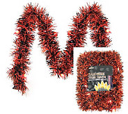 10 Lighted Garland LED Orange/Black Tinsel - H363150