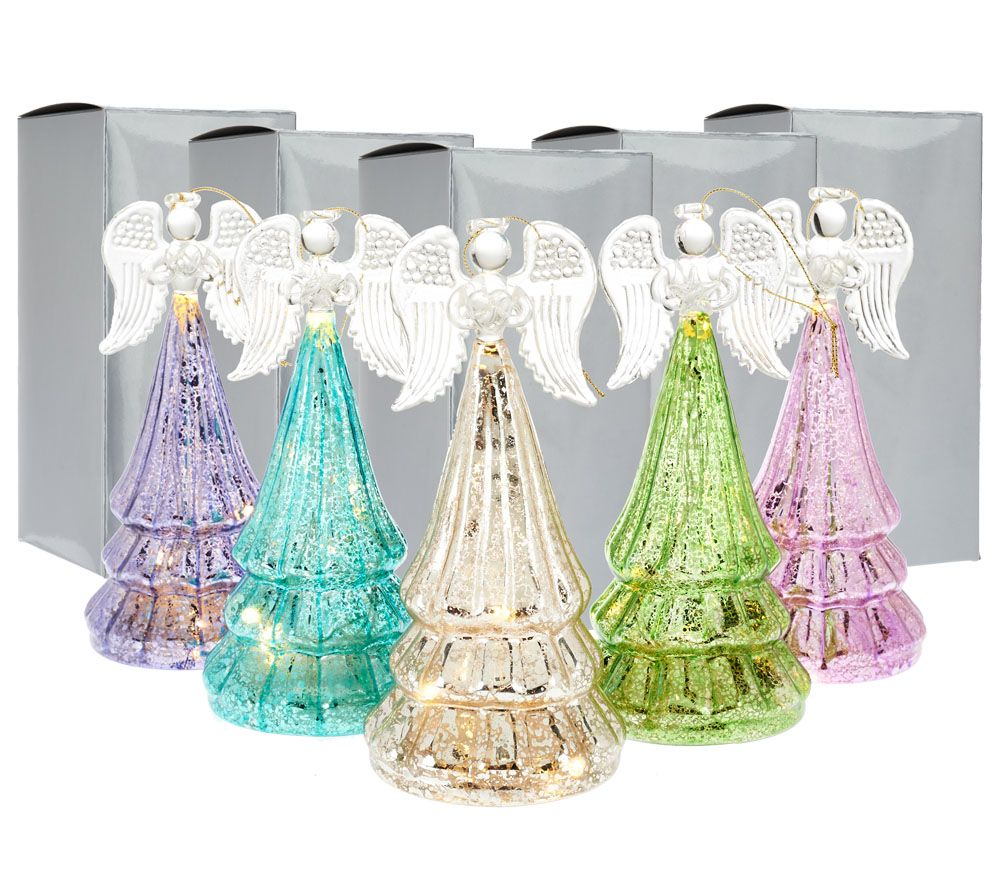 Set of 5 Lit Mercury Glass Angels w/Gift Boxes by Valerie