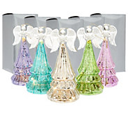 Set of 5 Lit Mercury Glass Angels w/Gift Boxes by Valerie - H203851
