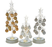 As Is Kringle Express S/3 Glass Trees w/ Metallic Ornaments - H210951