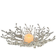 As Is Glittered Iced Crystal Twig Centerpiece FlamelessCandle - H211051