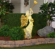 48 Glittered Indoor/Outdoor Trumpeing Angel with 100 Lights by Valerie - H212551