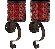 S/(2) 14 Metal Wall Sconces with Hurricanes and Microlights by Valerie - H213751