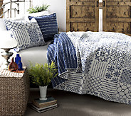 Monique 3-Piece Blue King Quilt Set by LushDecor - H287451