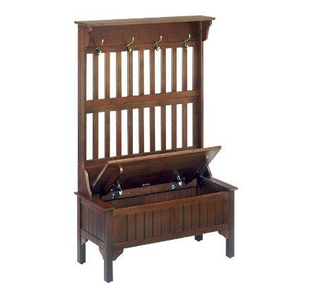 Home styles cherry storage bench with coat rack page 1 Storage bench with coat rack