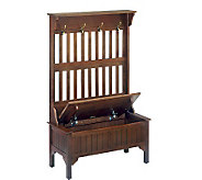 Home Styles Cherry Storage Bench with Coat Rack - H116852
