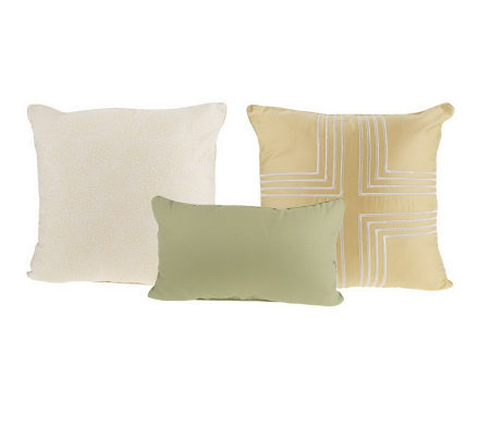 Qvc Decorative Pillows : Thom Filicia Set of Three Full Bloom Decorative Pillows ? QVC.com