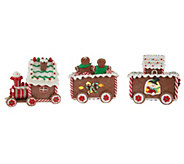 Illuminated Gingerbread Train with Timer by Valerie - H203452