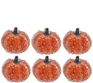 Set of 6 3 Decorative Beaded Pumpkins - H209452