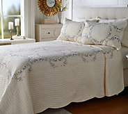 The Quilt Patch King Floral Embroidered Scalloped Edge Bedspread - H214352