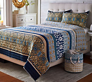 The Quilt Patch Viviana Patterned Quilt w/ Matching Storage Bin - H214652
