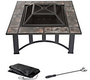 Pure Garden 33 Square Tile Fire Pit with Cover - H290752