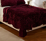 Dennis Basso Posh Velvet FL/QN Quilted Coverlet and Sham Set - H206453