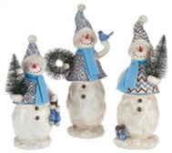 3-piece Snowman Family with Scarves and Hats by Valerie