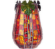 Plow and Hearth 8 Mosaic Tiled Hurricane with Leaf Accents & LED Microlights - H208953