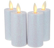 Luminara Set of 4 Glitter Votive Candles with Timer & Remote - H212653