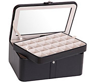 Mele & Co. Easton Glass Top Jewelry Box in Black Faux Leather - H287853