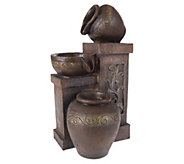 Brown Three Tier Rustic Jugs Table Fountain byPure Garden - H297153