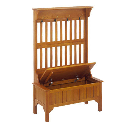 Home styles solid wood oak storage bench with coat rack Storage bench with coat rack