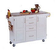 Home Styles Large Create a Cart - White w/GraniTop - H129054