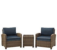 Crosley Bradenton 3-Piece Outdoor Wicker Conversation Set - H289554