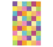 5 x 76&quot Girls Color Blocks WoolHandmade Rug - H139755