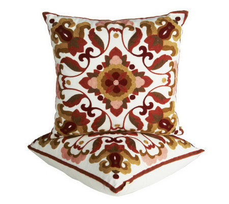 Qvc Decorative Pillows : Bombay Set of 2 Embroidered Decorative Pillows - H195155 ? QVC.com