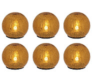 Set of 6 Mercury Glass Crackle Spheres by Valerie - H204355