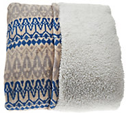 Berkshire Oversized Full Tribal Print Faux Mink & Sherpa Blanket - H206355