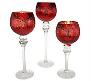 Set of 3 Illuminated Ribbed Goblets by Valerie - H208655