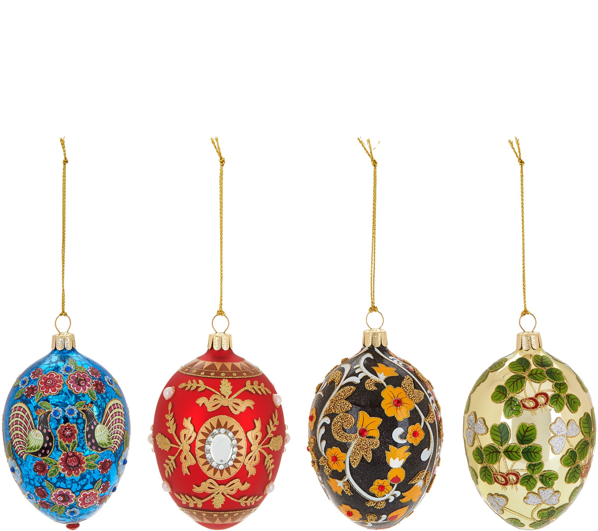 Joan Rivers 2017 Set Of 4 Russian Inspired Egg Ornaments  H211455