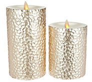 Inspire Me! Home Decor S/2 Metallic Flameless Candles w/Timer - H213855