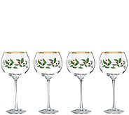 Lenox Holiday Set of 4 Balloon Glasses - H286855