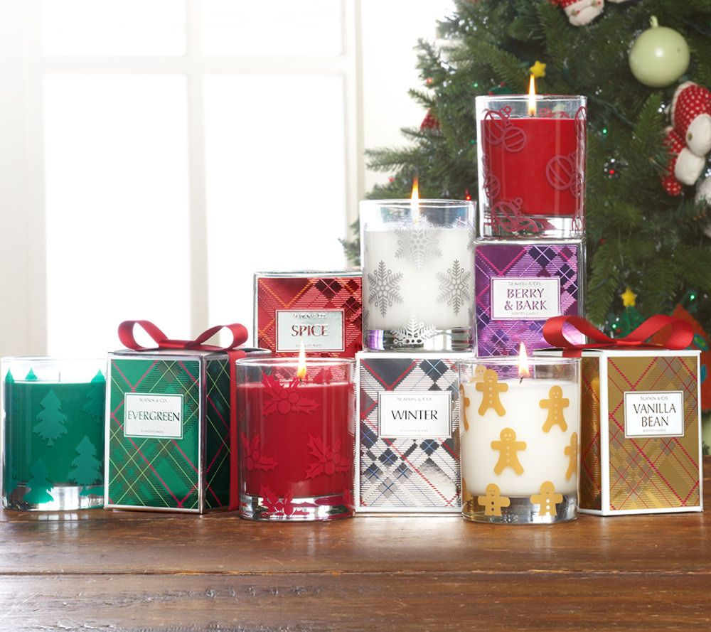 Slatkin & Co. Set of 5 Holiday Scented 9.5 oz. Candles with Gift ...