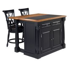 Home Syles Monarch Kitchen Island w/Granite Top & Two Stools