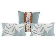 Thom Filicia Set of Three Floral Vine Decorative Pillows - H190456