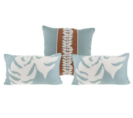 Qvc Decorative Pillows : Thom Filicia Set of Three Floral Vine Decorative Pillows - H190456 ? QVC.com