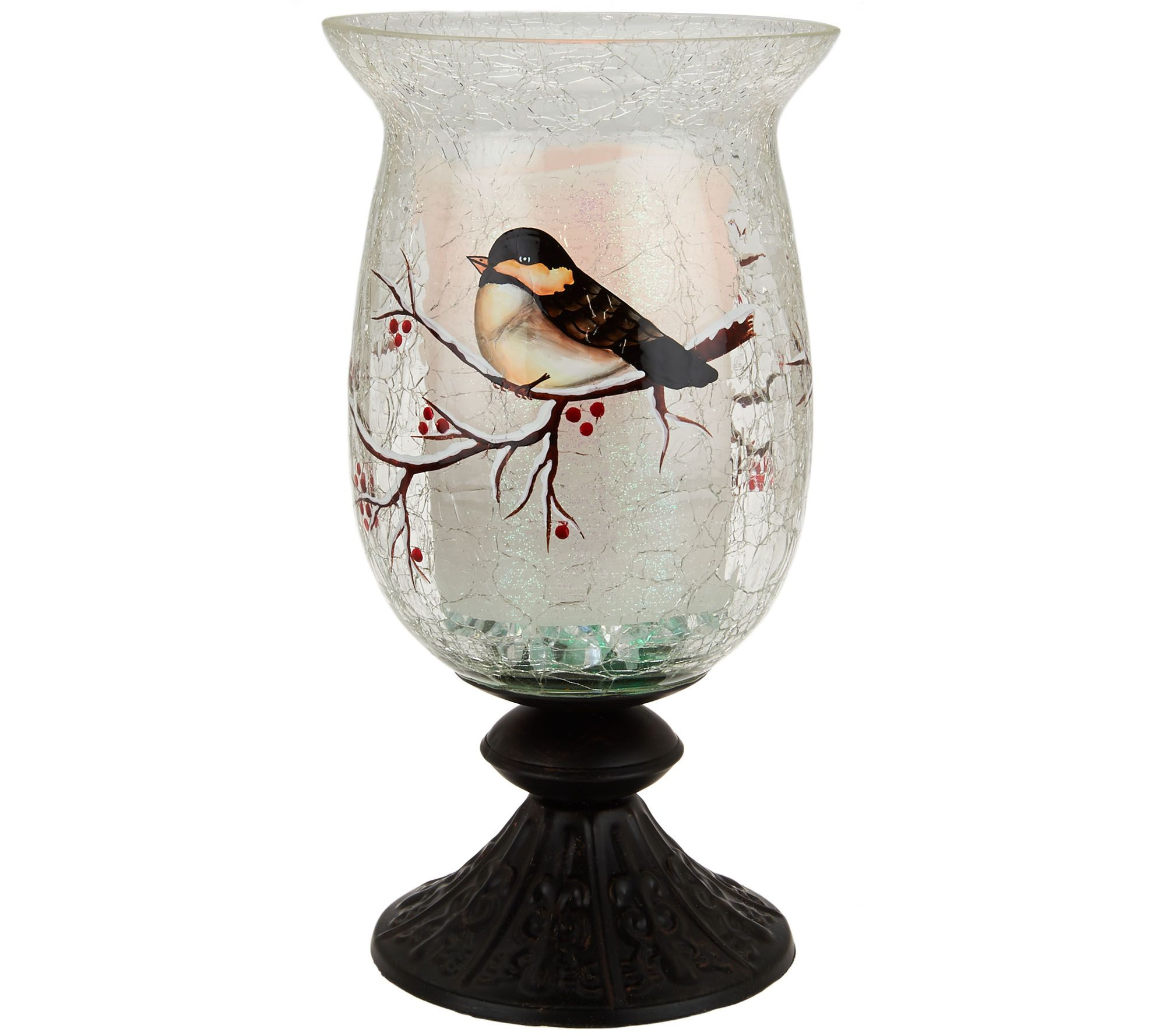 Lightscapes handpainted glass hurricane with flameless candle lightscapes handpainted glass hurricane with flameless candle page 1 qvc reviewsmspy