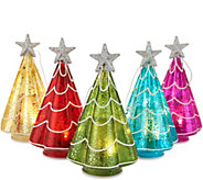 Kringle Express S/5 Illuminated Mercury Glass Trees or Gifts w/Gift Boxes - H211556