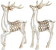 Set of 2 11 Antiqued Deer Figurines with Braided Rope Accents - H211856