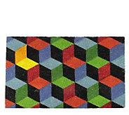 Northlight 29-1/2 x 18 Multicolor Cube Rectangular Door Mat - H295056
