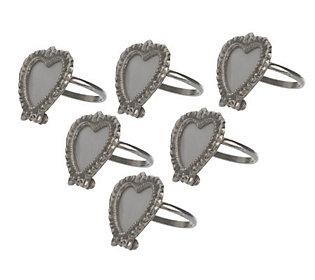 Set of Six Heart-Shaped Frame Napkin Rings by Valerie
