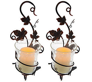 S/2 Home Reflections Glass Sconces with Flameless Candle & Timer