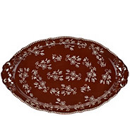 Temp-tations 18 Floral Lace Holiday Platter with Figural Handles - H205057
